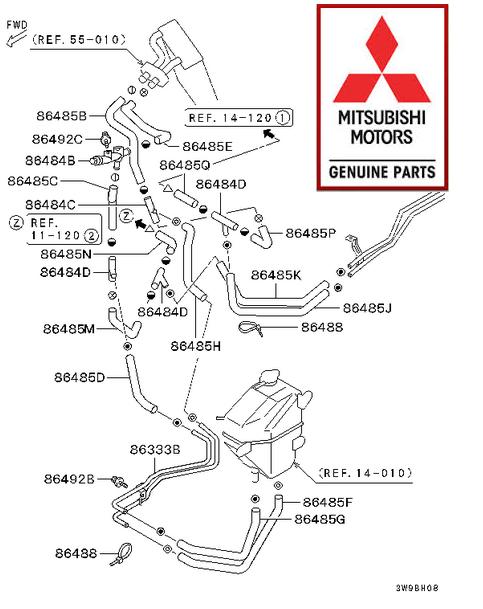 Mitsubishi Delica L400 4m40 Heater Hose Set With Radiator